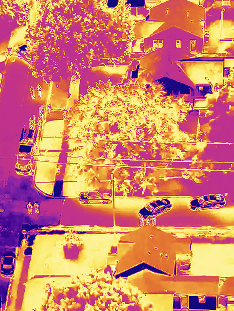 Thermographic view of a crime scene from a drone